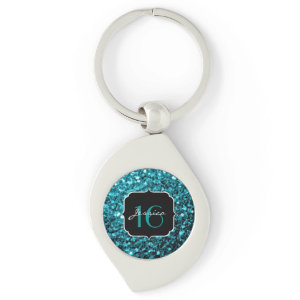 Beautiful Aqua Blue sparkles  keychain
