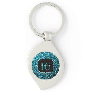 Beautiful Aqua Blue sparkles  keychain