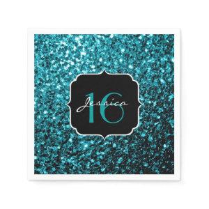 Beautiful Aqua Blue sparkles Sweet 16 napkins Standard Cocktail Napkin