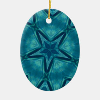 Beautiful Aquamarine Star Shaped Mandela Pattern Ceramic Ornament
