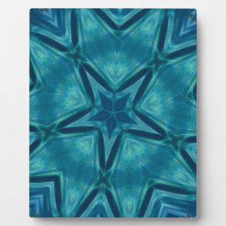 Beautiful Aquamarine Star Shaped Mandela Pattern Plaque