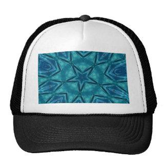 Beautiful Aquamarine Star Shaped Mandela Pattern Trucker Hat