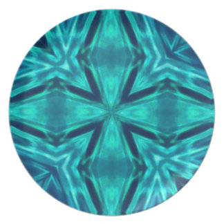 Beautiful Aquamarine Teal Blue Cross Abstract Melamine Plate