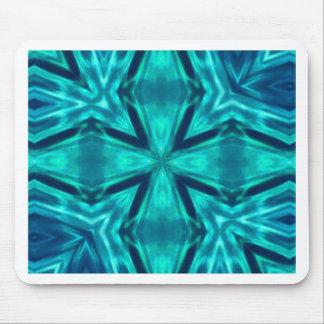 Beautiful Aquamarine Teal Blue Cross Abstract Mouse Pad
