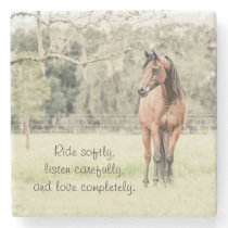 Beautiful Arabian Horse with Inspirational Quote Stone Coaster