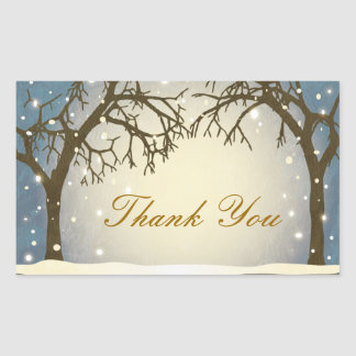 Beautiful Arched Winter Trees Thank You Stickers