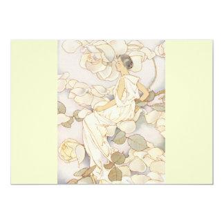 Beautiful Art Deco Lady Rose Nymph Card