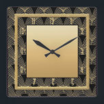"""Beautiful Art Deco Patterned Square Wall Clock<br><div class=""""desc"""">I created this beautiful Art Deco clock using an Art Deco Pattern for the background, as well as adding gold elements to make this wall clock. This is very Art Deco style and would look fabulous on any wall in your home. For all Art Deco lovers. Or you could give...</div>"""