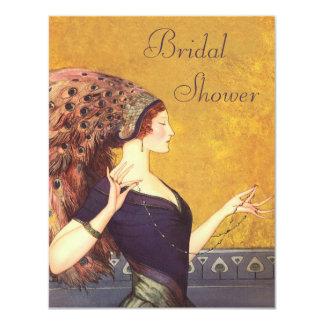 Beautiful Art Deco Peacock Flapper Bridal Shower 4.25x5.5 Paper Invitation Card
