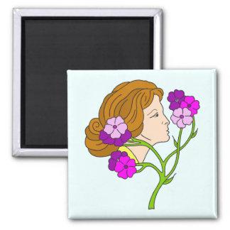 Beautiful Art Nouveau lady with flowers Magnet