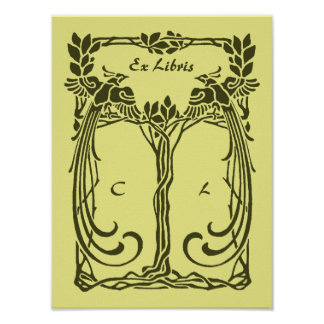 Beautiful art nouveau peacocks, add 2 initials poster