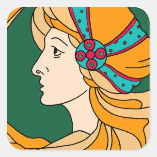 Beautiful Art Nouveau style lady detail Square Sticker