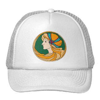 Beautiful Art Nouveau style lady detail Trucker Hat
