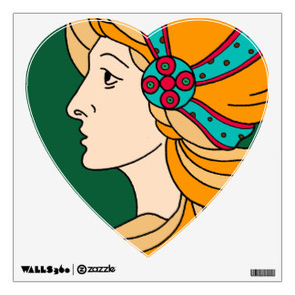 Beautiful Art Nouveau style lady detail Wall Decal