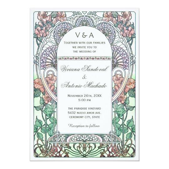 Beautiful Art Nouveau Wedding Invitations   Zazzle.com