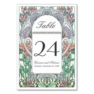 Beautiful Art Nouveau Wedding Table Numbers Card