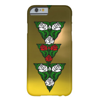 BEAUTIFUL ART NOUVEAU WHITE  RED ROSES TRIANGLE BARELY THERE iPhone 6 CASE