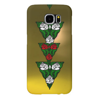 BEAUTIFUL ART NOUVEAU WHITE  RED ROSES TRIANGLE SAMSUNG GALAXY S6 CASE