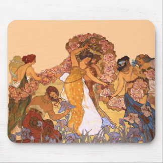 Beautiful Art Nouveau Women with Irises and Roses Mouse Pad