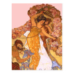 Beautiful Art Nouveau Women with Irises and Roses Postcard