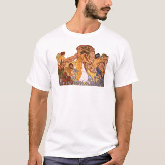 Beautiful Art Nouveau Women with Irises and Roses T-Shirt