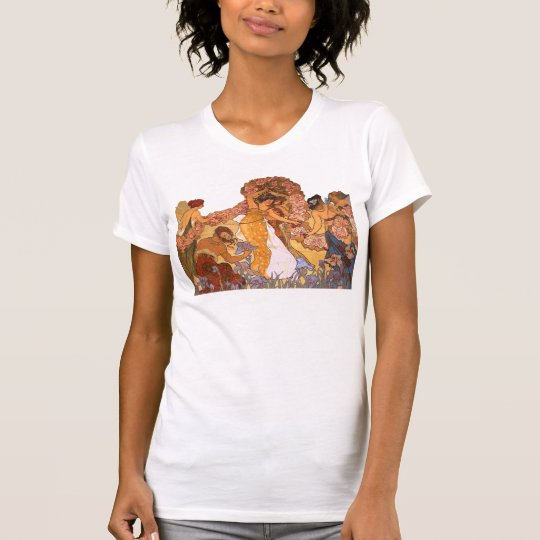 Beautiful Art Nouveau Women with Irises and Roses T-Shirt