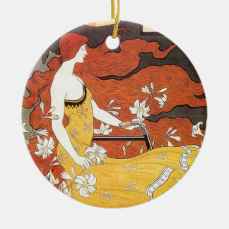 Beautiful Art of a Girl in the Art Nouveau Style Ceramic Ornament