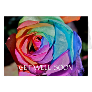 Beautiful artificially coloured Rose Get Well Soon Greeting Card