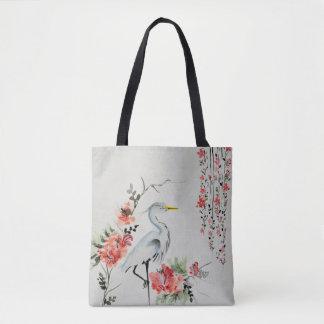 beautiful Asian crane bird Tote Bag