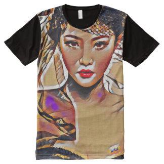 Beautiful Asian Goddess Acrylic Cubism Paint All-Over-Print T-Shirt