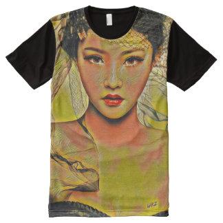 Beautiful Asian Woman Acrylic Paint Art All-Over-Print Shirt
