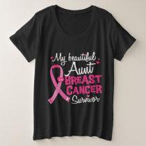 Beautiful Aunt Breast Cancer Survivor Niece Nephew Plus Size T-Shirt
