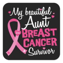 Beautiful Aunt Breast Cancer Survivor Niece Nephew Square Sticker