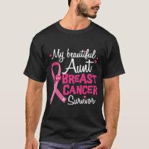 Beautiful Aunt Breast Cancer Survivor Niece Nephew T-Shirt