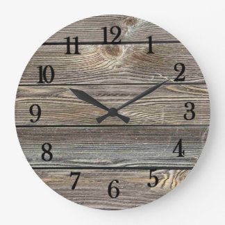 Beautiful authentic looking wood horizontal print large clock