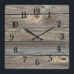 """Beautiful authentic looking wood horizontal print square wall clock<br><div class=""""desc"""">Beautiful authentic looking wood horizontal print</div>"""