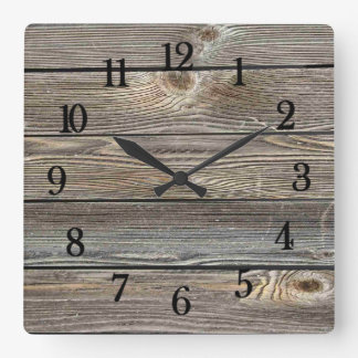 Beautiful authentic looking wood horizontal print square wall clock