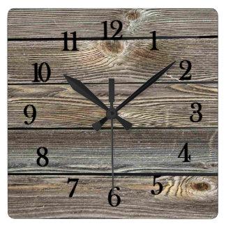 Beautiful authentic looking wood horizontal print square wall clock