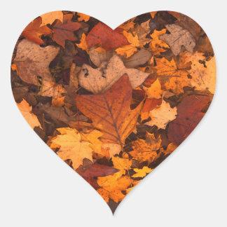 Beautiful Autum Foliage Design. Heart Sticker