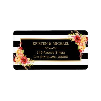 Beautiful Autumn Floral Gold Black White Stripes Label