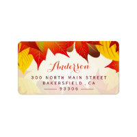 Beautiful Autumn Gold Red | Rustic Fall Leaves Label