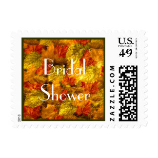 Beautiful Autumn Leaves Bridal Shower Postage