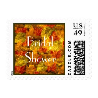 Beautiful Autumn Leaves Bridal Shower Postage