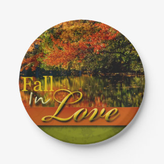Beautiful Autumn Photo Fall In Love Wedding Rustic Paper Plate