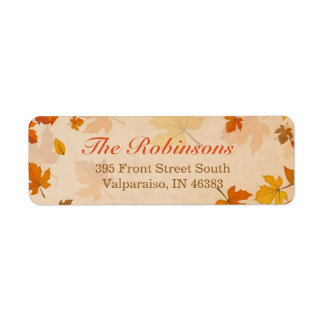 Beautiful Autumn Red and Gold Maple Leaves Label