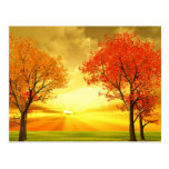 Beautiful autumn scenery postcard