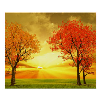 Beautiful autumn scenery poster