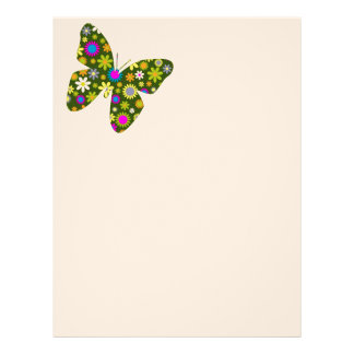 Beautiful Aziza Butterfly Wing Whimsy Blossoms Custom Letterhead