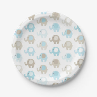 Beautiful Baby Blue Elephants Paper Plate