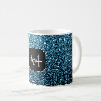 Beautiful Baby blue glitter sparkles Monogram Coffee Mug